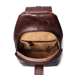 Top Brown Leather Men's Sling Bag Sling Pack Chest Bag One Shoulder Backpack For Men