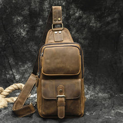 Brown Leather Men's Sling Bags Best Sling Pack Chest Bag One Shoulder Backpack For Men