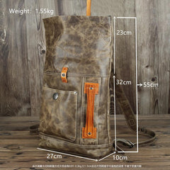 Mens Leather 14 inches Large School Laptop Backpack Rollup Khaki Brown Travel Backpacks for Men