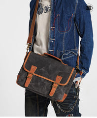Dark Gray Waxed Canvas Leather Mens Briefcase Side Bag Messenger Bags Casual Courier Bag for Men