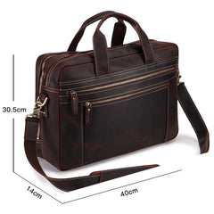 Dark Brown Large Leather Men's Professional Briefcase 17'' Laptop Handbag Briefcase Business Briefcase For Men