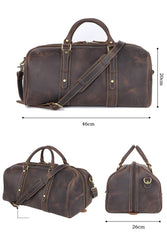 Dark Brown Leather Mens Casual Large Travel Bag 16