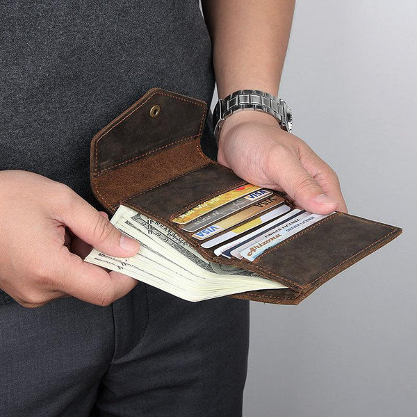 Dark Brown Small MENS LEATHER Bifold Wallet Card Brown billfold Wallet FOR MEN
