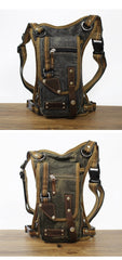 Canvas Black Mens DropLeg Bag Green Belt Pouch Waist Bag Hip Bag Small Side Bag For Men