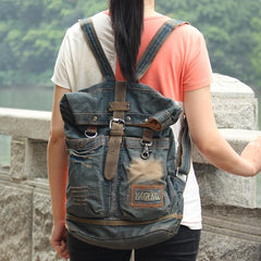 Denim Blue Mens Large Backpack School Backpacks Barrel Blue Large Jean Travel Backpack For Men