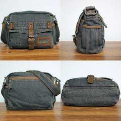 Denim Blue Mens Small Messenger Bag Blue Jean Postman Bag Courier Bag For Men