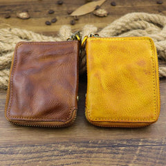 Brown Men Leather Zip Billfold Small Chain Wallet with Coin Pocket Biker Bifold Chain Wallet for Men