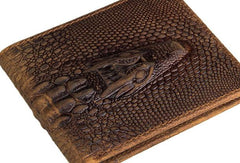 Dragon Genuine Leather Mens Wallet  Alligator Pattern Cool Short Slim Bifold Wallet Card Wallet Purse for Mens