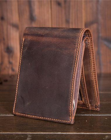 Handmade Genuine Leather Slim Wallet Bifold Short Wallet Purse Bag For Mens