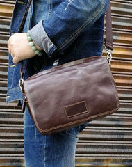 Men Brown Leather Small Messenger Bag Cool Side Bag Shoulder Bag for men