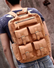 Genuine Leather Vintage Mens Cool Backpack Large Camel Travel Bag Hiking Bag For Men