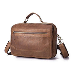 Brown Men's Small Professional Briefcase 10'' Laptop Handbag Business Shoulder Bag For Men