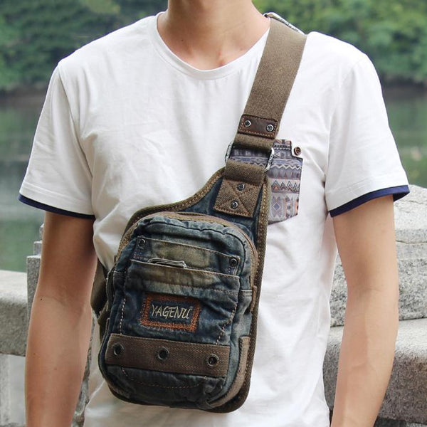 Fashion Denim Blue Mens Small Sling Bag Chest Bags Blue Fashion Denim One Shoulder Backpacks For Men