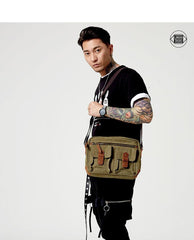 Fashion Canvas Leather Mens Khaki Side Bag Messenger Bags Army Green Canvas Courier Bag for Men