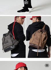 Fashion Canvas Leather Mens Bucket Sling Bag Sling Pack Khaki Canvas Sling Backpack for Men
