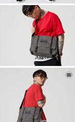 Fashion Canvas Leather Mens Side Bags Messenger Bags Khaki Canvas Courier Bag for Men