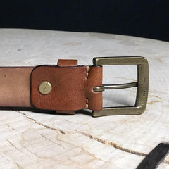 Cool Distressed Coffee Leather Vintage Leather Belt Mens Khaki Leather Mens Belt  Brown Belt for Men