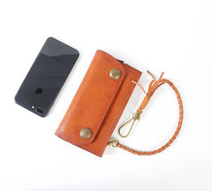 Tan Leather Mens Cool Trifold Chain Wallet Long Leather Chain Wallet Biker Wallet for Men