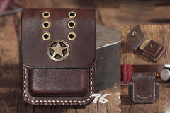 Handmade Brown Leather Mens Zippo Lighter Case With Belt Loop Zippo Standard Lighter Holders For Men