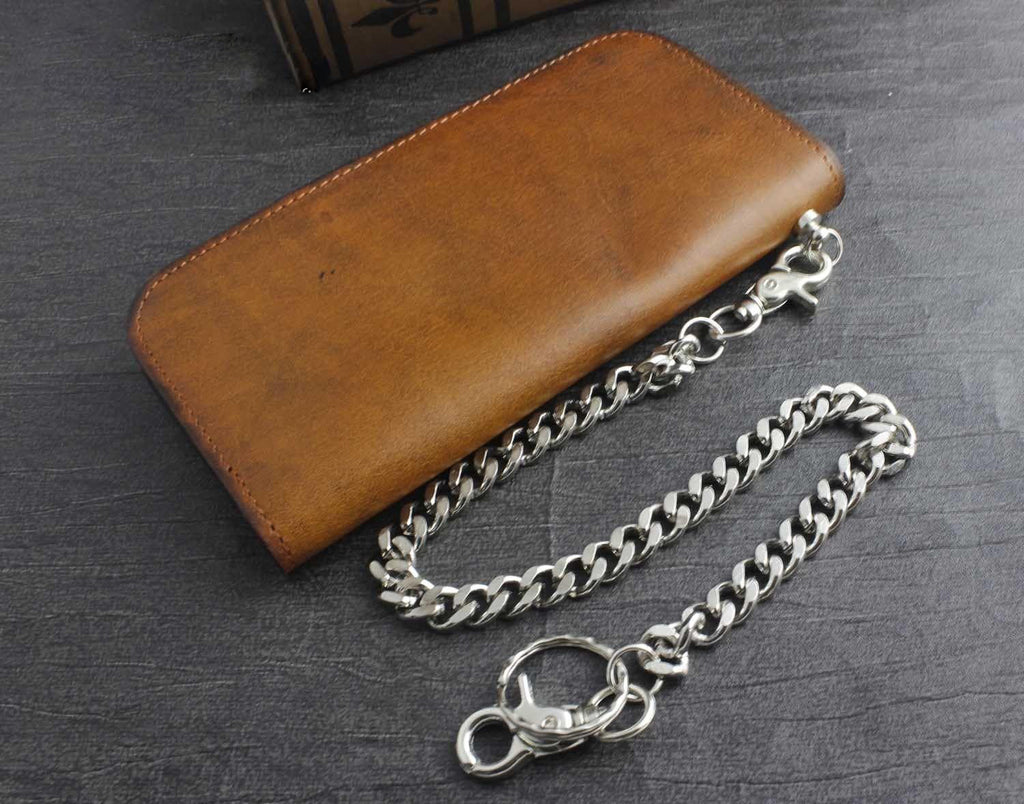 Men/'s biker/'s large zip-around genuine leather wallet with 30 cm long chain
