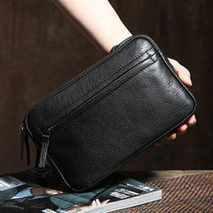 Genuine Leather Mens Clutch Cool Wallet Zipper Clutch Wristlet Bag Wallet for Men