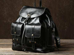 Genuine Leather Mens Cool Backpack Laptop Bag Large Travel Bag Hiking Bag for Men