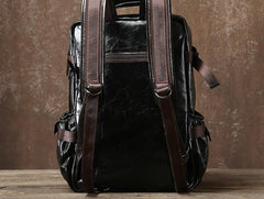 Genuine Leather Mens Cool Black Backpack Laptop Bag Large Travel Bag Hiking Bag for Men