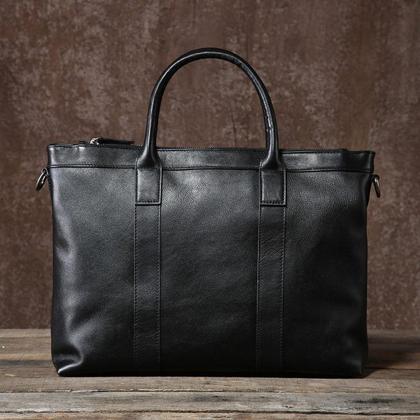 Genuine Leather Mens Cool Black Messenger Bag Briefcase Work Bag Business Bag Laptop Bag for men
