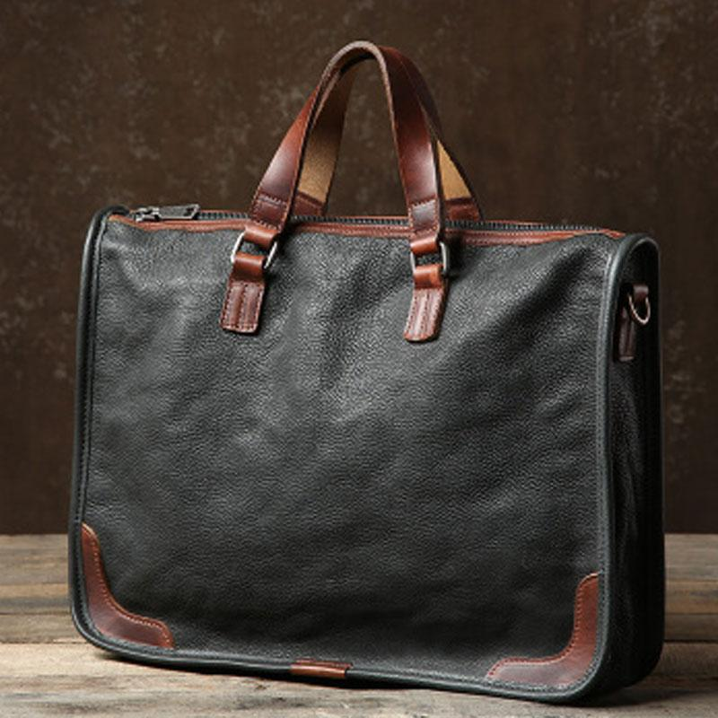 Genuine Leather Mens Cool Briefcase Work Bag Business Bag Laptop Bag for men