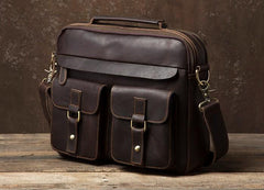 Genuine Leather Mens Cool Messenger Bag Briefcase Work Bag Business Bag Laptop Bag for men