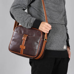 Genuine Leather Mens Cool Shoulder Bag Messenger Bag Chest Bag Bike Bag Cycling Bag for men