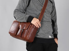 Genuine Leather Mens Cool Small Shoulder Bag Messenger Bag Bike Bag Cycling Bag for men