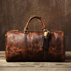 Genuine Leather Mens Large Brown Travel Bag Cool Duffle Bag Shoulder Bag Weekender Bag for Men
