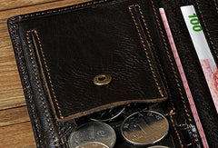 Genuine Leather Mens Trifold Wallet Coffee Long Wallet for Men with Multi Cards