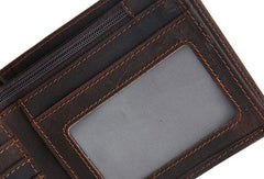 Genuine Leather Mens Wallet Cool Short Slim Bifold Wallet Card Wallet Purse for Mens