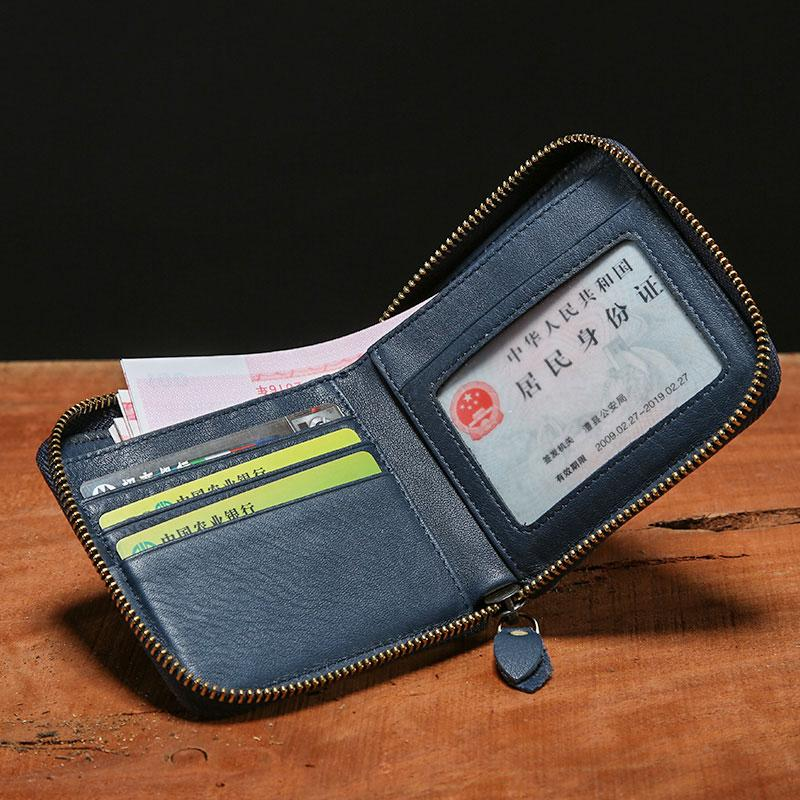 d916143a7fea Genuine Leather Mens Zipper Cool Short Leather Wallet Men Small Wallets  Bifold for Men. SKU  GER00891042. Previous