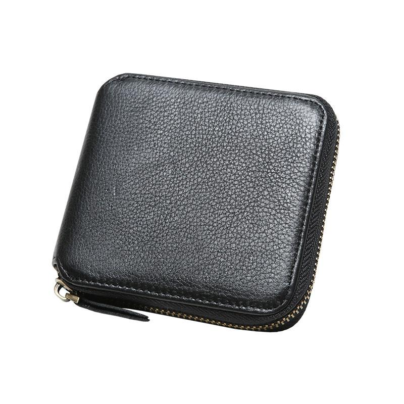 d31a20b08a0ad Genuine Leather Mens Zipper Cool Short Leather Wallet Men Small Wallet –  iChainWallets