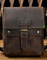 Genuine Leather Mens Small Messenger Bag Small Side Bag Courier Bag For Men