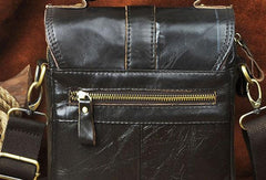 Black Genuine Leather Mens Small Messenger Bag Side Bag Courier Bag For Men