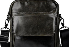Black Genuine Leather Small Messenger Bag Small CrossBody Bag For Men