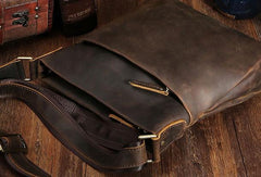Genuine Leather Vintage Cool Small Shoulder Bag Messenger Bag Side Bag for men