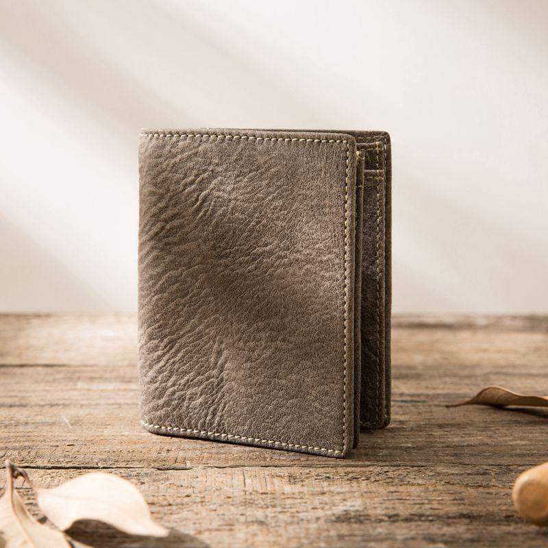 Gray Cool Leather Mens Small Wallet Bifold Vintage Slim Short Wallet for Men