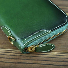 Green Mens Leather Cards Long Wallets Lot of Cards Black Zipper Long Wallet Cards Wallet for Men