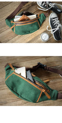 Green Canvas Leather Mens Chest Bag Waist Bag Fanny Pack Bum Pack For Men
