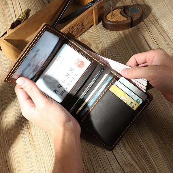 Handmade Coffee Leather Mens Trifold Billfold Personalized Trifold Small Wallets for Men