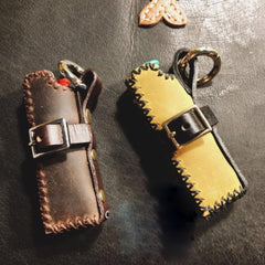 Handmade Black Bic Leather Lighter Case Leather Bic Lighter Holder Leather Bic Lighter Covers For Men