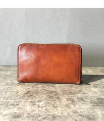 Handmade Black Leather Mens Bifold Long Wallet Brown Zipper Long Wallets Card Holders Clutch Men