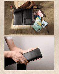 Handmade Black Leather Mens Bifold Long Wallets Personalized Black Checkbook Wallet for Men