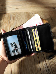 Handmade Coffee Leather Mens Billfold Wallets Personalize Coffee Bifold Small Wallets for Men