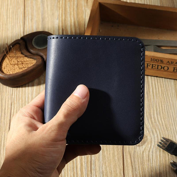 Handmade Blue Leather Mens Billfold Wallets Personalize Blue Bifold Small Wallets for Men